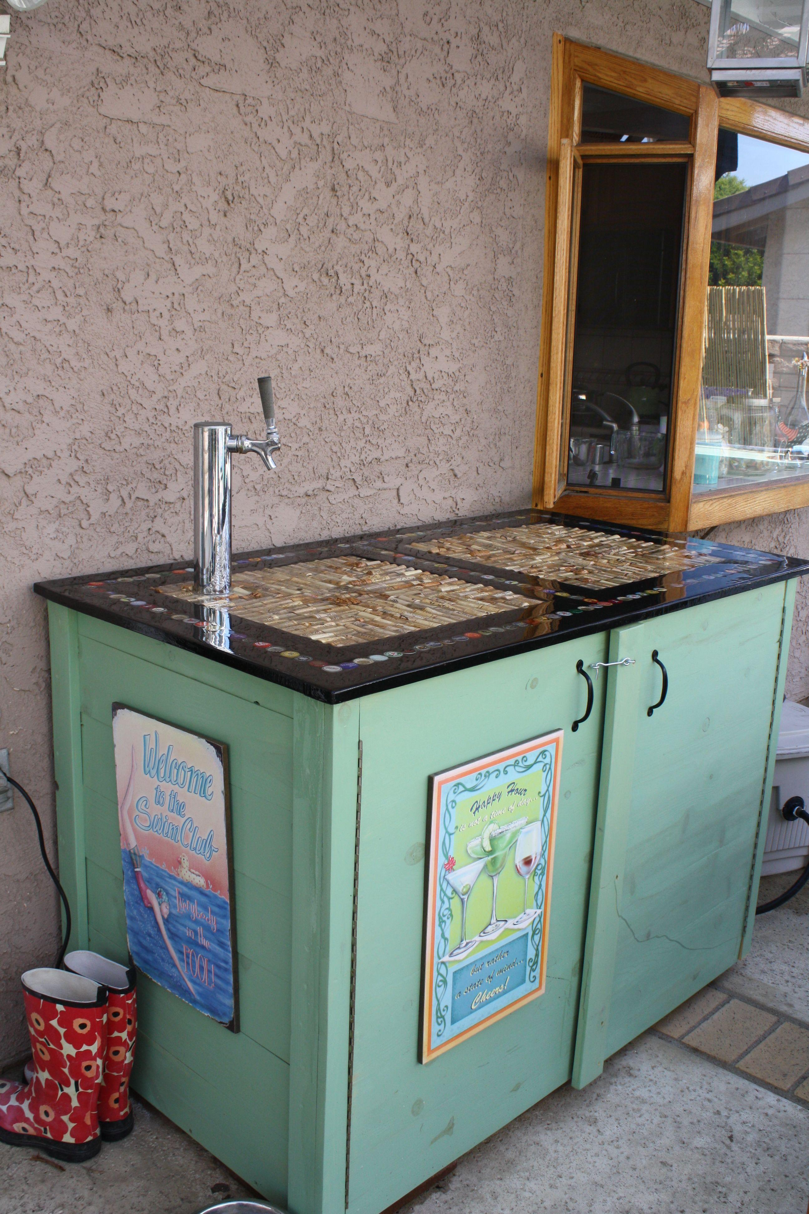DIY bar top on kegerator cabinet | My Style | Pinterest | Diy bar ...