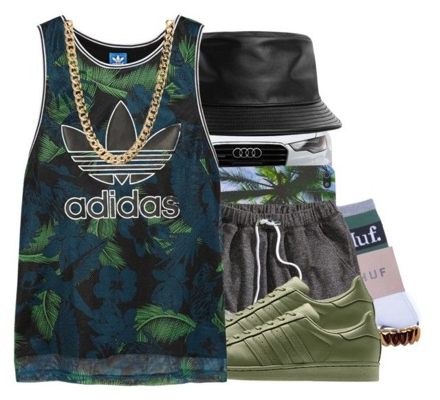 """""""A beautiful life/ I'm just fresh today."""" by swagerlovehater ❤ liked on Polyvore featuring Stampd, HUF, H&M and adidas Originals"""