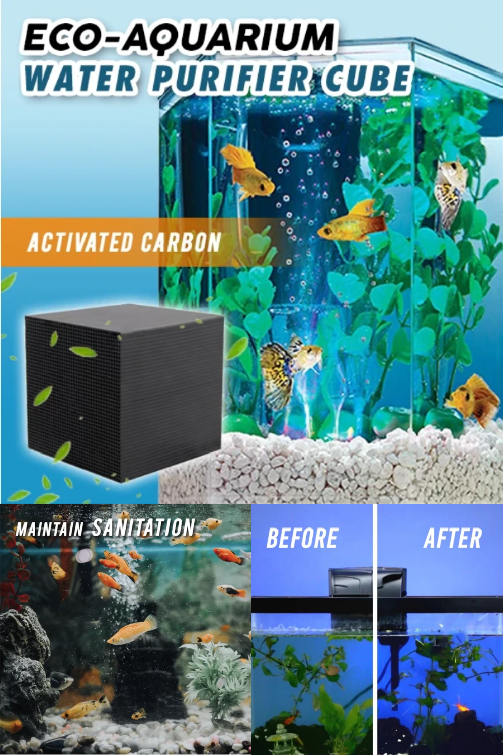 An unclean aquarium is harmful to the life of your pet fish. Maintain the sanitation of your water pet's habitat. Our Eco friendly tool is much better solution. This is the best aquarium purifier for your fishes, it keeps the water clean and fishes healthy and fresh. It is very important gadget to have if you have fishes and wanted their long life.