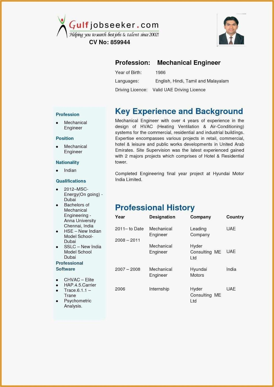 Mechanical Engineering Cv Format Mechanical Engineering Cv Format For Fresher Pdf Mechanical Engineering Resume Best Resume Template Resume Template Examples