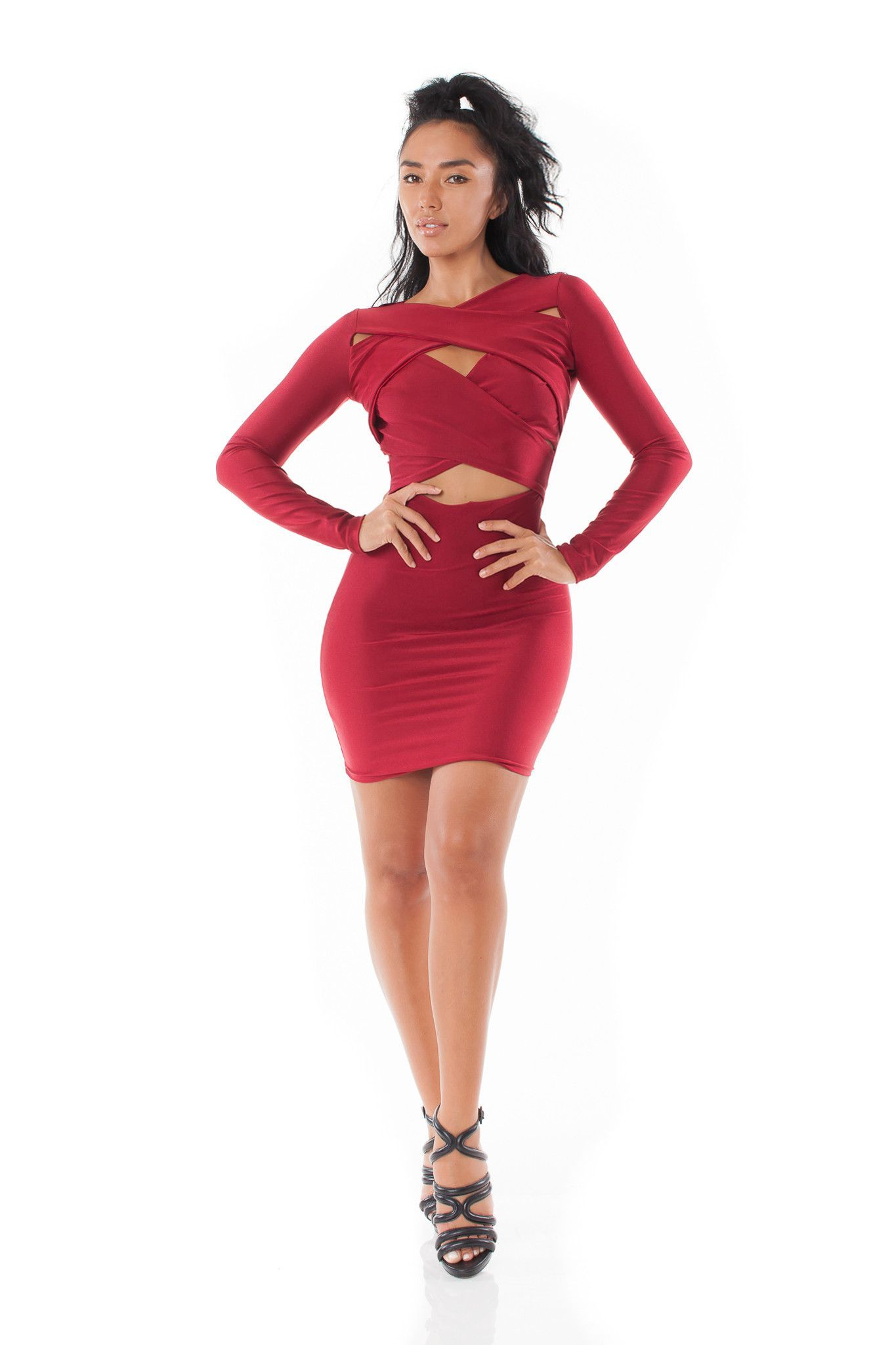 Sadie long sleeve dress w front cut outs red dress red