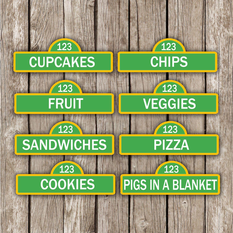 Sesame Street Editable Food Labels - Sesame Street Birthday Party - Instant Download - DIY Printable by LittleMsShutterbug on Etsy https://www.etsy.com/listing/187006731/sesame-street-editable-food-labels