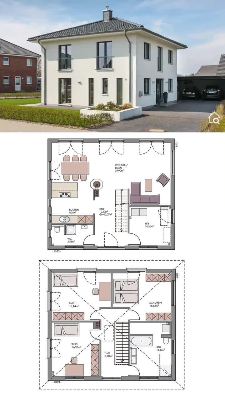 Einfamilienhaus Stadtvilla modern mit Zeltdach & Putz Fassade massiv bauen Haus Grundriss Ideen