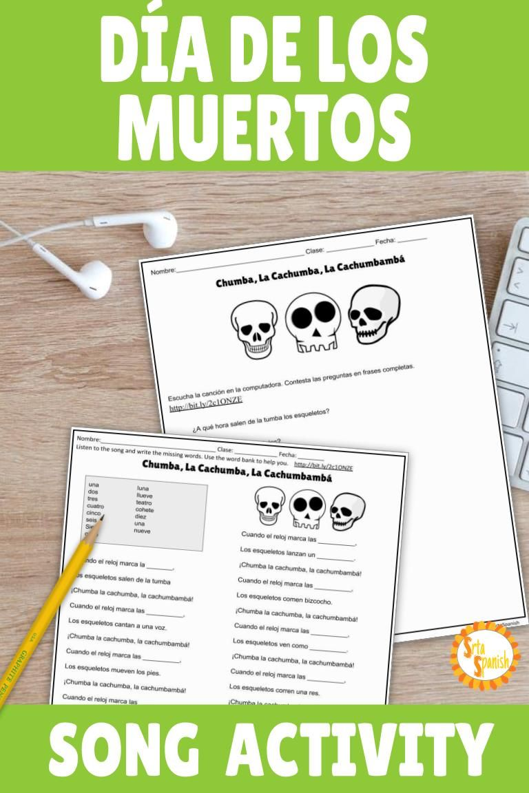 Need An Idea For Día De Los Muertos For Your Classroom This Song Is Perfect For Your Novic Telling Time In Spanish Learning Spanish Spanish Teaching Resources
