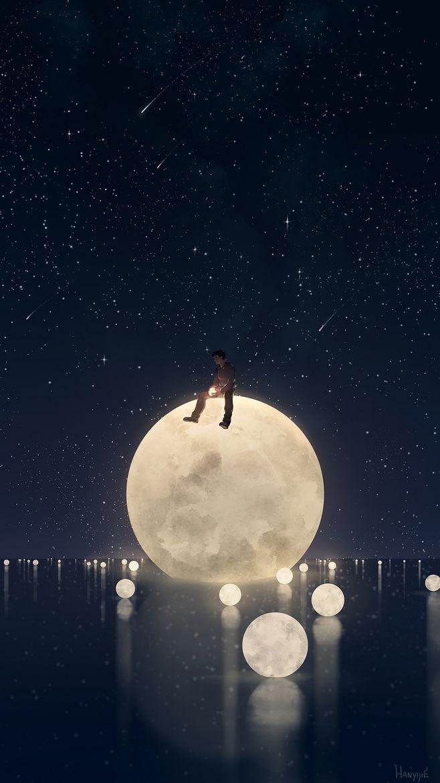 Fantasy anime moon wallpaper