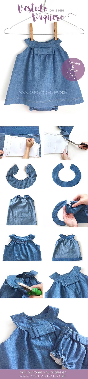 Vestido Vaquero de Bebé [ Patrón gratis y Tutorial DIY] | costura ...