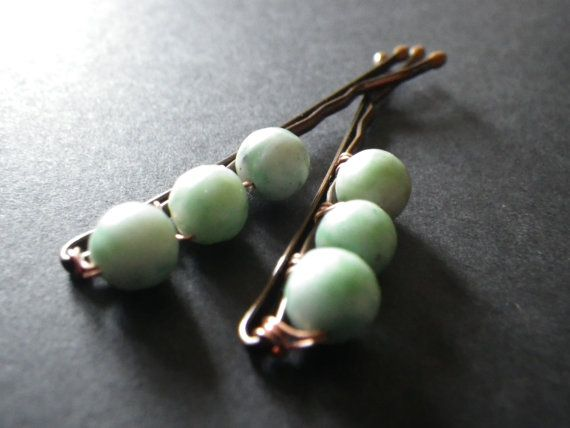 Minty Green Pastel Wire Wrapped Beaded Bobby Pins by CassieVision, $6.00