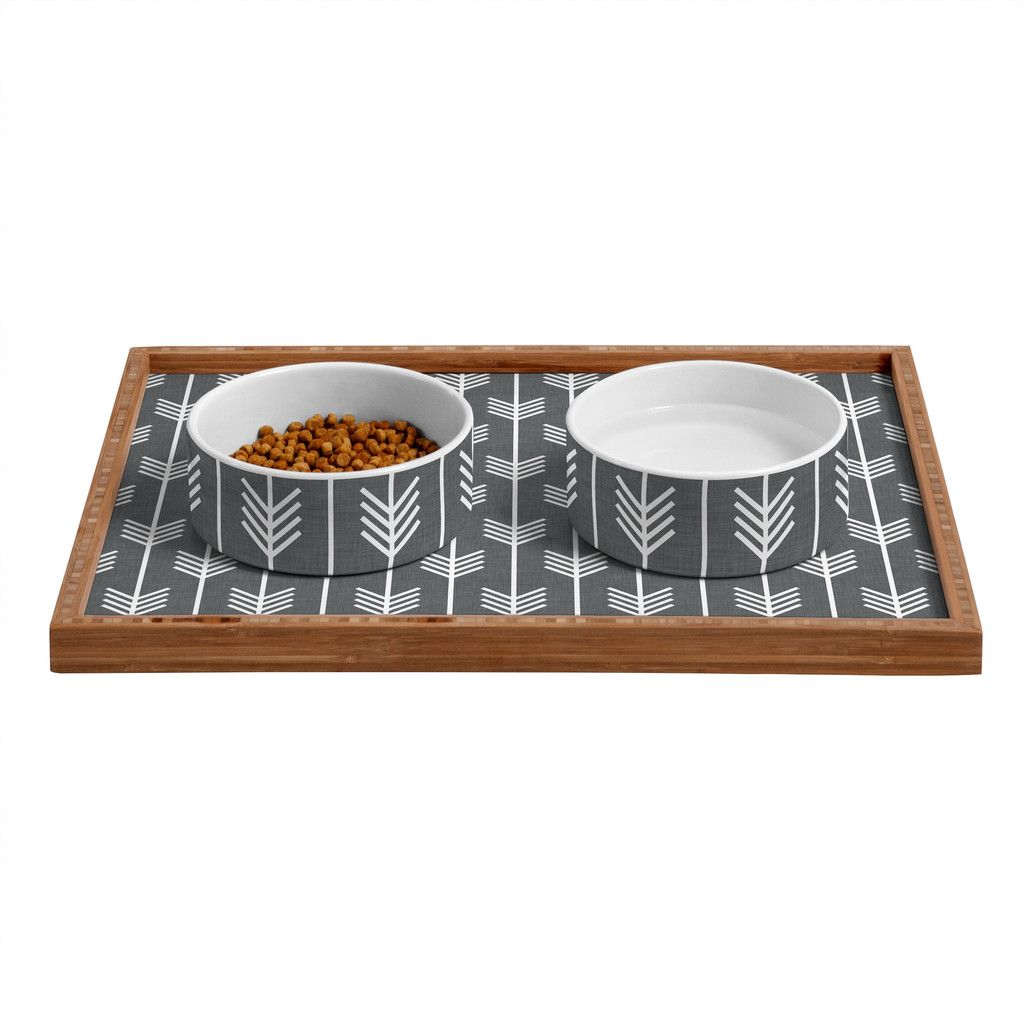 Holli Zollinger Arrows Grey Pet Bowl and Tray | DENY Designs Home Accessories