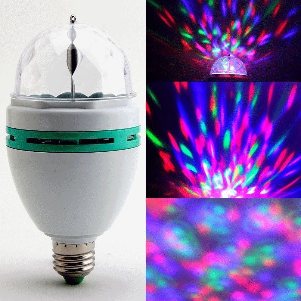 Andoer 3W E27 LED de couleur pleine Cristal Auto Rotating scène DJ ampoule de lampe: Amazon.co.uk: Lighting