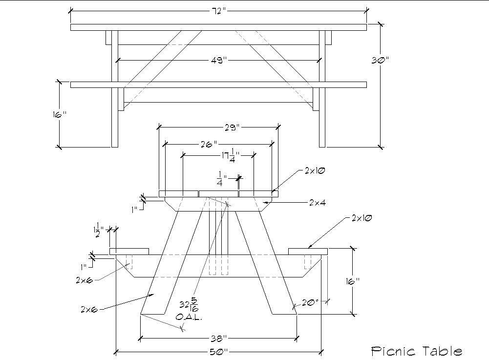 Wooden 6 Foot Picnic Table Plans DIY Blueprints 6 Foot Picnic Table Plans  Here S A Free All Free Picnic Table Traditional 6 Foot Picnic Table Plan  From Bob ...