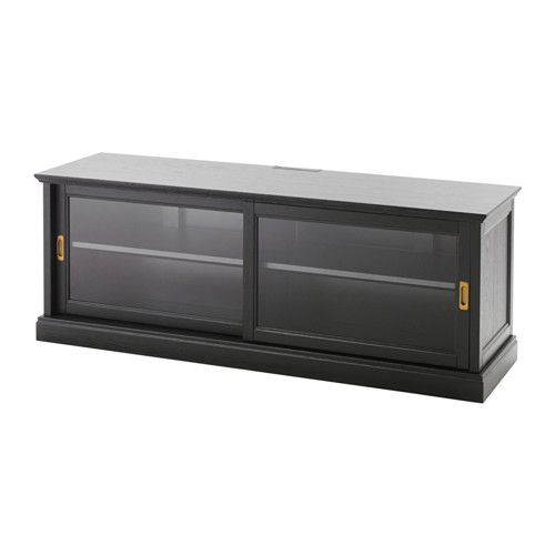 Mobile Porta Tv Vetro Ikea.Ikea Malsjo Black Stained Tv Unit With Sliding Doors