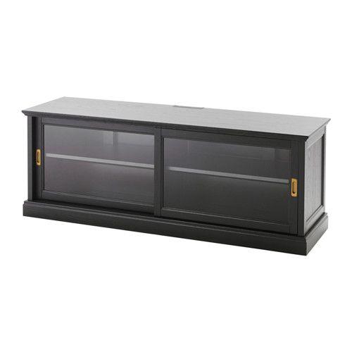 MALSJÖ Banc TV portes coulissantes, teinté noir teinté noir Porte - Armoire Ikea Porte Coulissante