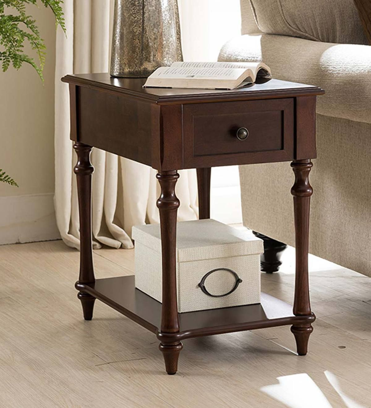 Narrow Side Table With Charging Station