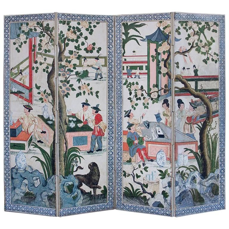 18th Century French Louis XV Painted Chinoiserie Folding Screen | 1stdibs.com