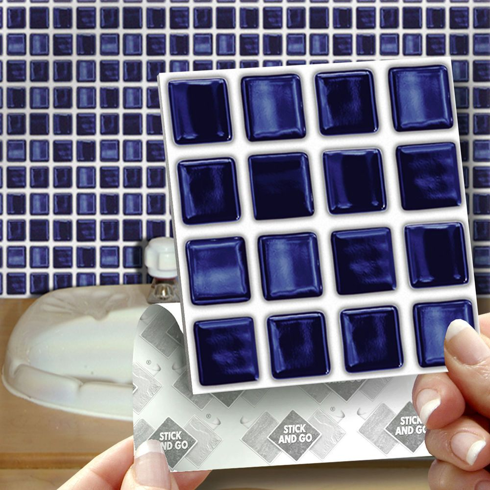 18 Stick & Go Deep Blue Self Adhesive Wall Tiles for Kitchen or ...
