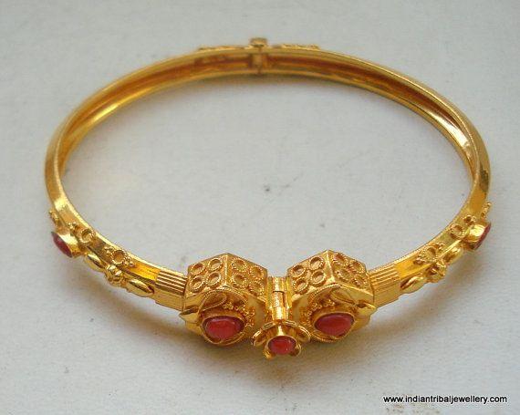 94eb4b9c39275 22k gold bracelet bangle cuff ethnic south indian coral gemstones ...