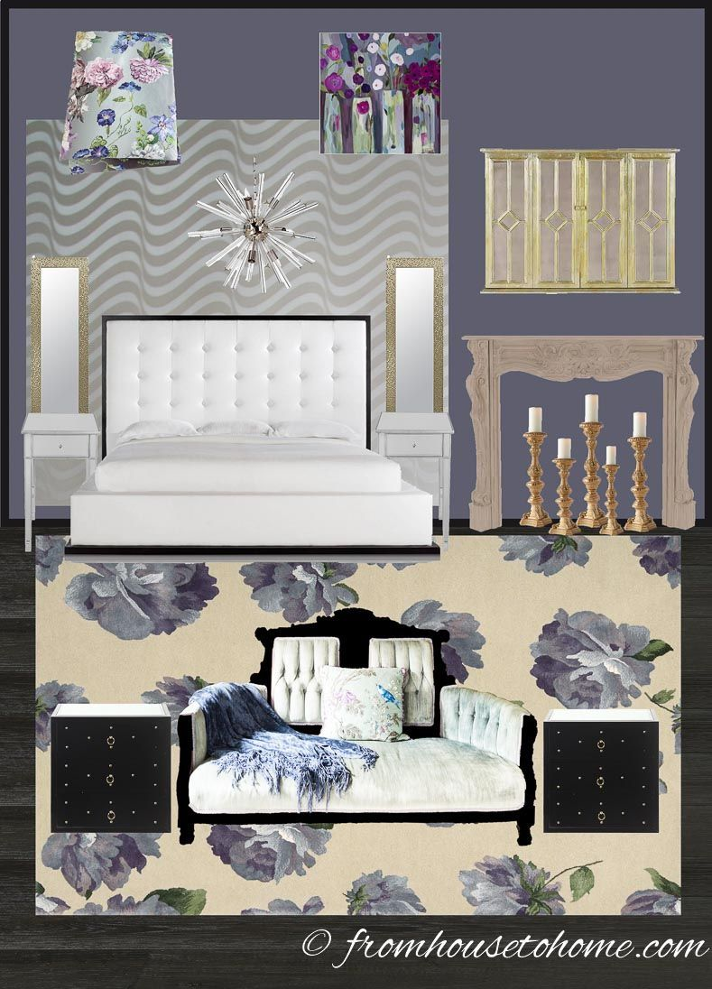 I love this purple and white master bedroom makeover design plan