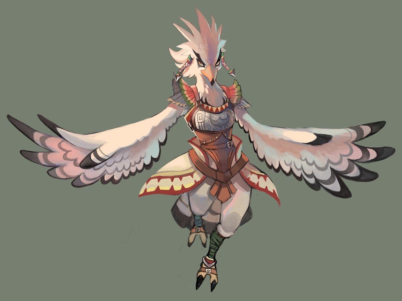 Teba Rito Botw Bird People Legend Of Zelda Breath Legend Of