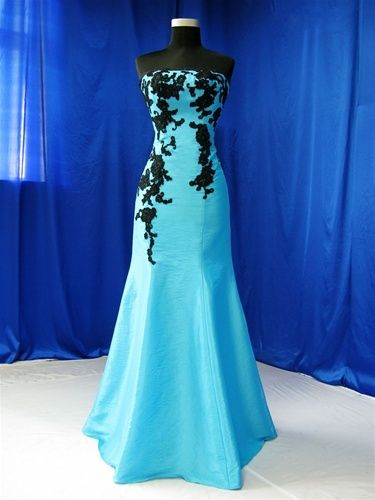 Beau Trumpet Style Blue And Black Wedding Dress   Available In Every Color