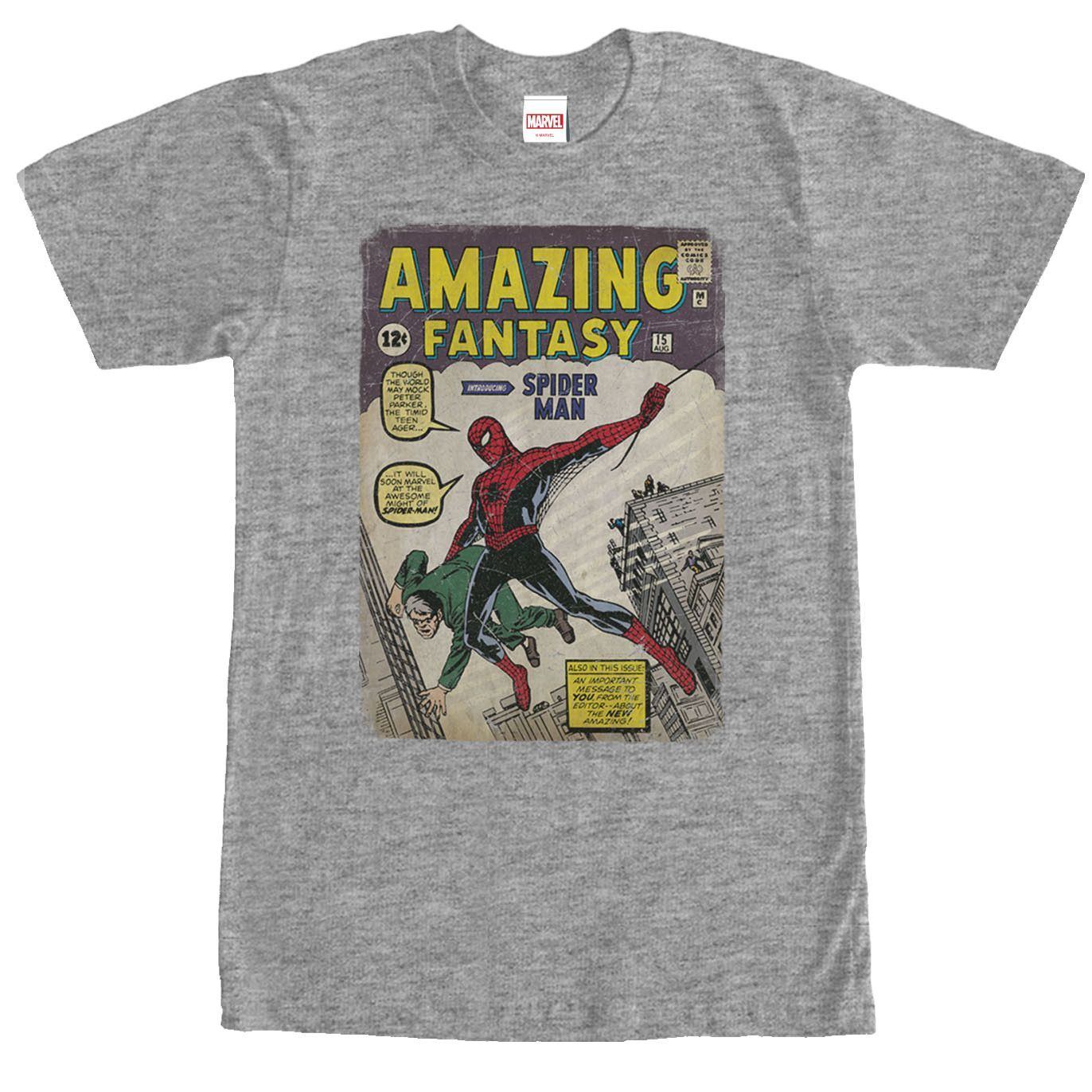 Marvel Spider-Man Comic Book Cover Print Heather Gray T-Shirt