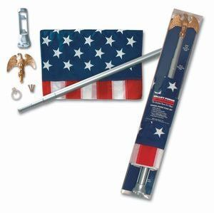 """Valley Forge U.S. 3-Foot x 5-Foot Nylon Flag With Sewn Stripes & Embrodired Stars 6-Foot Telescoping Aluminum Pole Kit With Bracket by Valley Forge. $34.99. 3' x 5' nylon flag with sewn stripes and embroidered stars. """"VALLEY FORGE"""" U.S. FLAG KIT. Pewter finish cast aluminum bracket. Vacuum plated gold cast aluminum eagle. 6' tall brushed aluminum telescoping pole. 3'X5' Nylon Flag with sewn stripes & embrodired stars 6' Telescoping aluminum Pole Kit with bracket"""