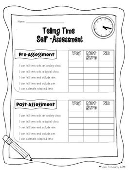 Telling Time Self-Assessment.