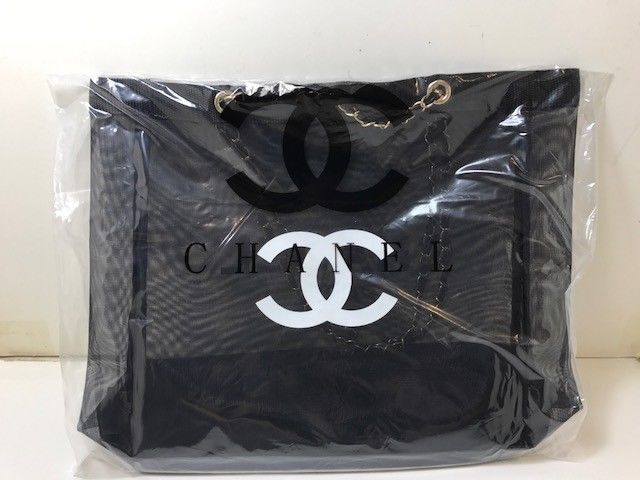 d3ee62bca352 Chanel VIP Gift Black Mesh Tote Bag Shopping Travel Shopper Gold Chain- New   ChaneI
