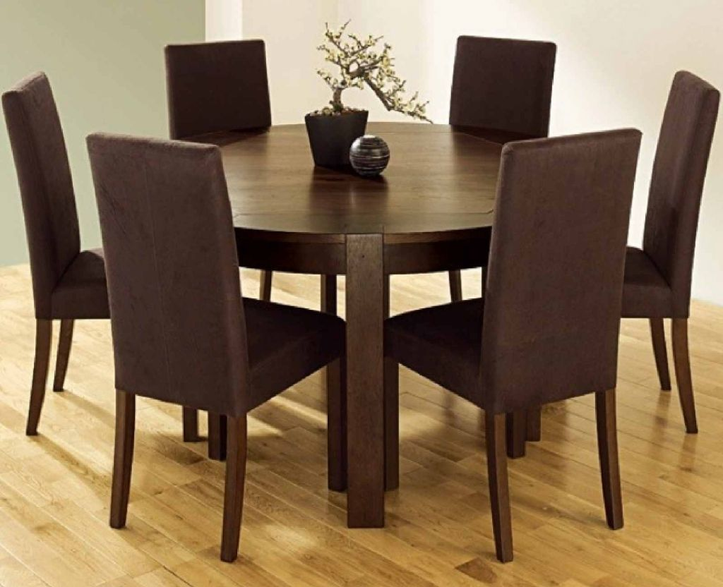 Round Kitchen Table With 6 Chairsawesome Brown Round Dining Room