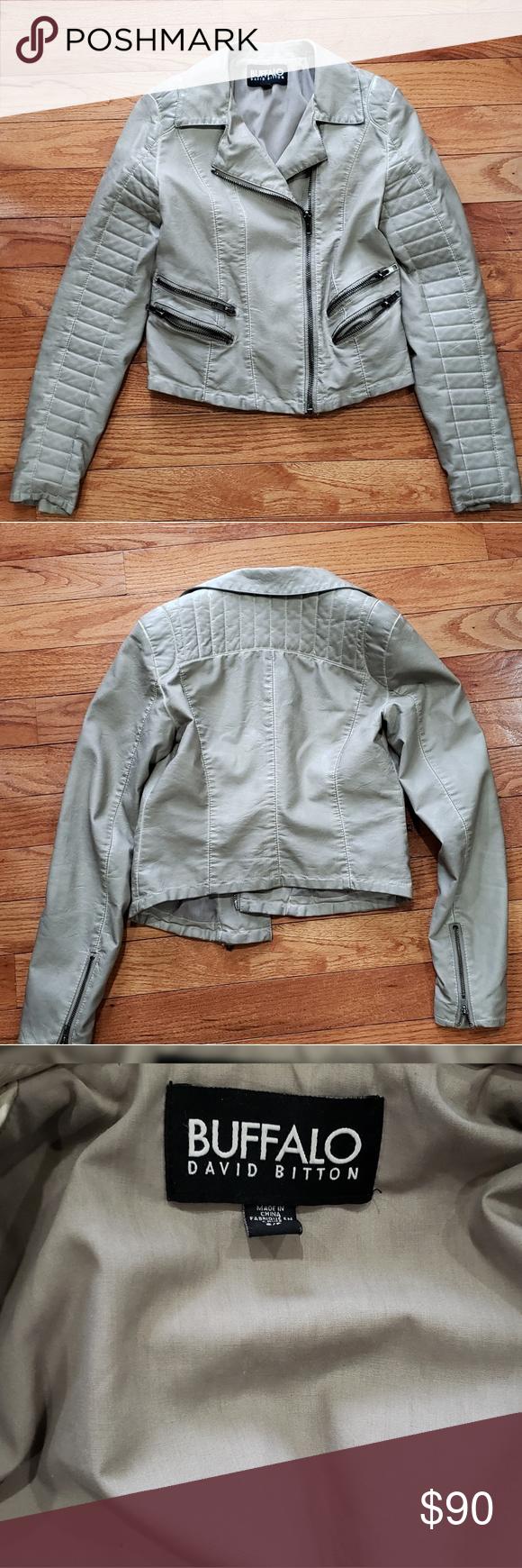Buffalo David Bitton Silver Moto Jacket Silver Moto Jacket With Grey Hardware Full Length Like New No Rips Stains Fades Jackets Moto Jacket Clothes Design [ 1740 x 580 Pixel ]