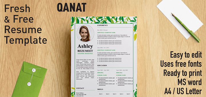 Qanat  Floral Resume Template For Word  Products