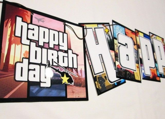 Example Of Grand Theft Auto Happy Birthday Party Decoration Banner Inbox For Details