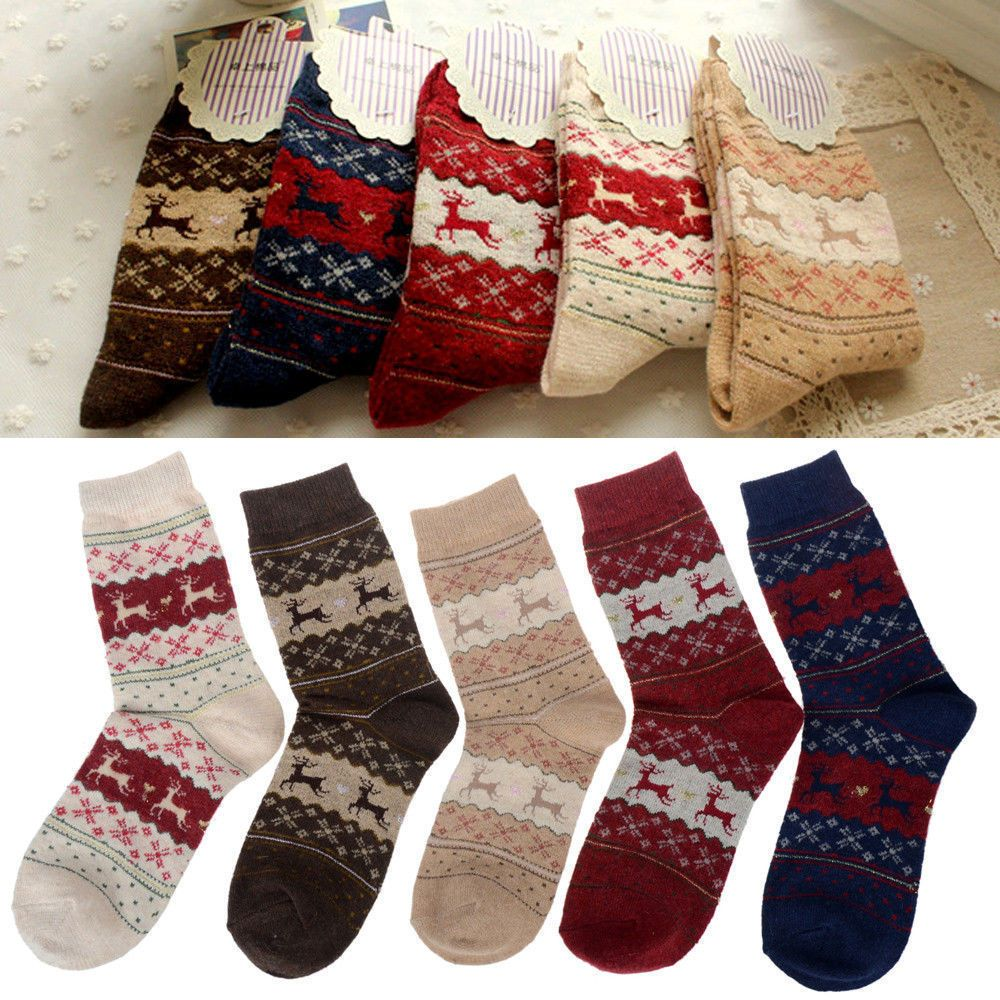 764e09ed0b94f 5 Pairs Sales Christmas Snowflake Deer Design Womens Wool Socks Warm Winter  Cute #New #Socks
