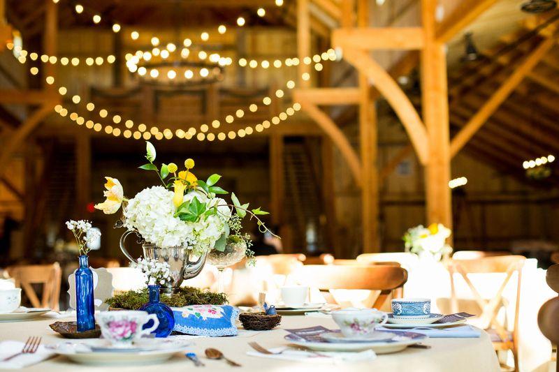 Silver Teapots Cobalt Blue Teacups At Kelsey Richard Waterstone Vintage Barn Wedding Blog Rent My D Vintage Barn Wedding Barn Wedding Vintage Rentals