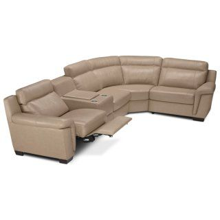 Seth Genuine Leather 5 Piece Power Reclining Sectional   Rope | The Brick