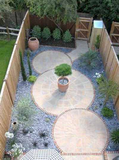 love the symmetry and natural flow of this paved garden for small or side yards
