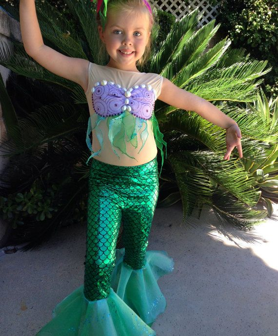 Ariel Costume Ariel Leggings for Girls Size by uccostumes on Etsy