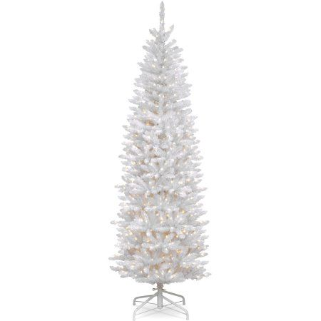 National Tree Pre-Lit 7' Kingswood White Fir Hinged Pencil Artificial Christmas Tree with 300 Clear Lights