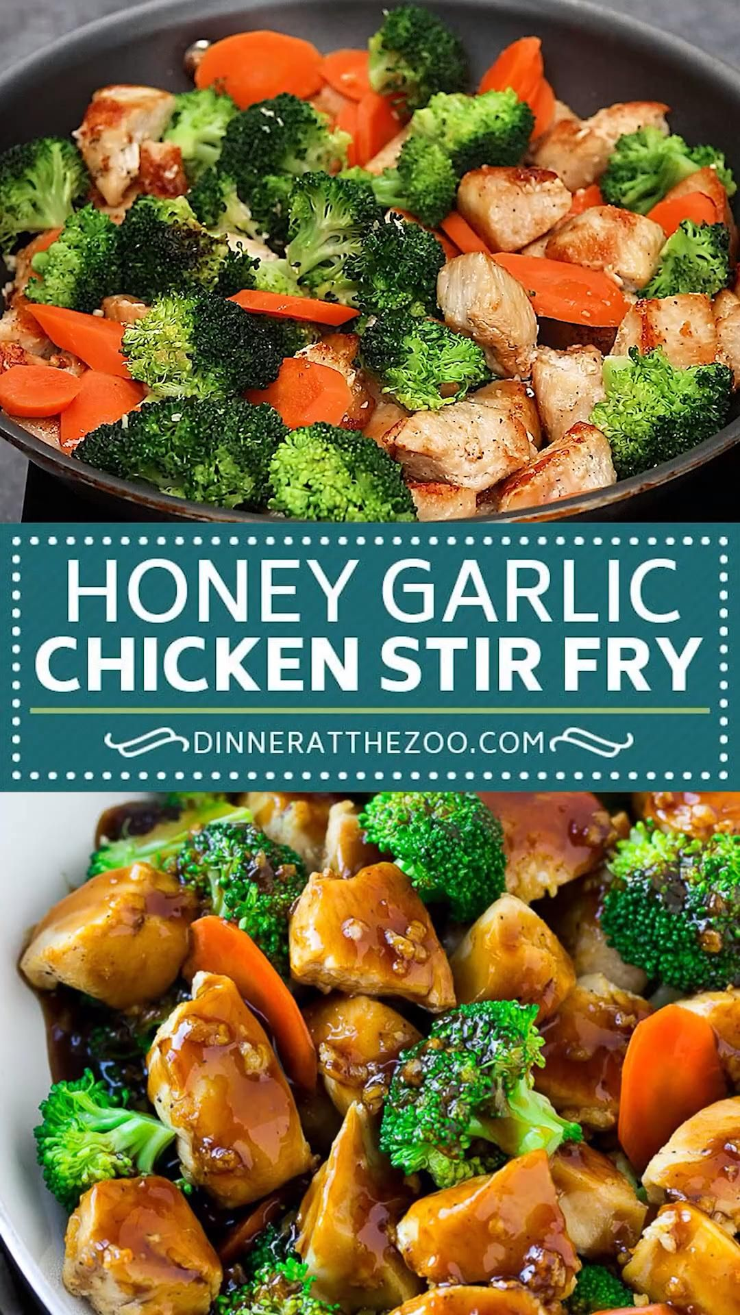 Photo of honey garlic chicken stir fry