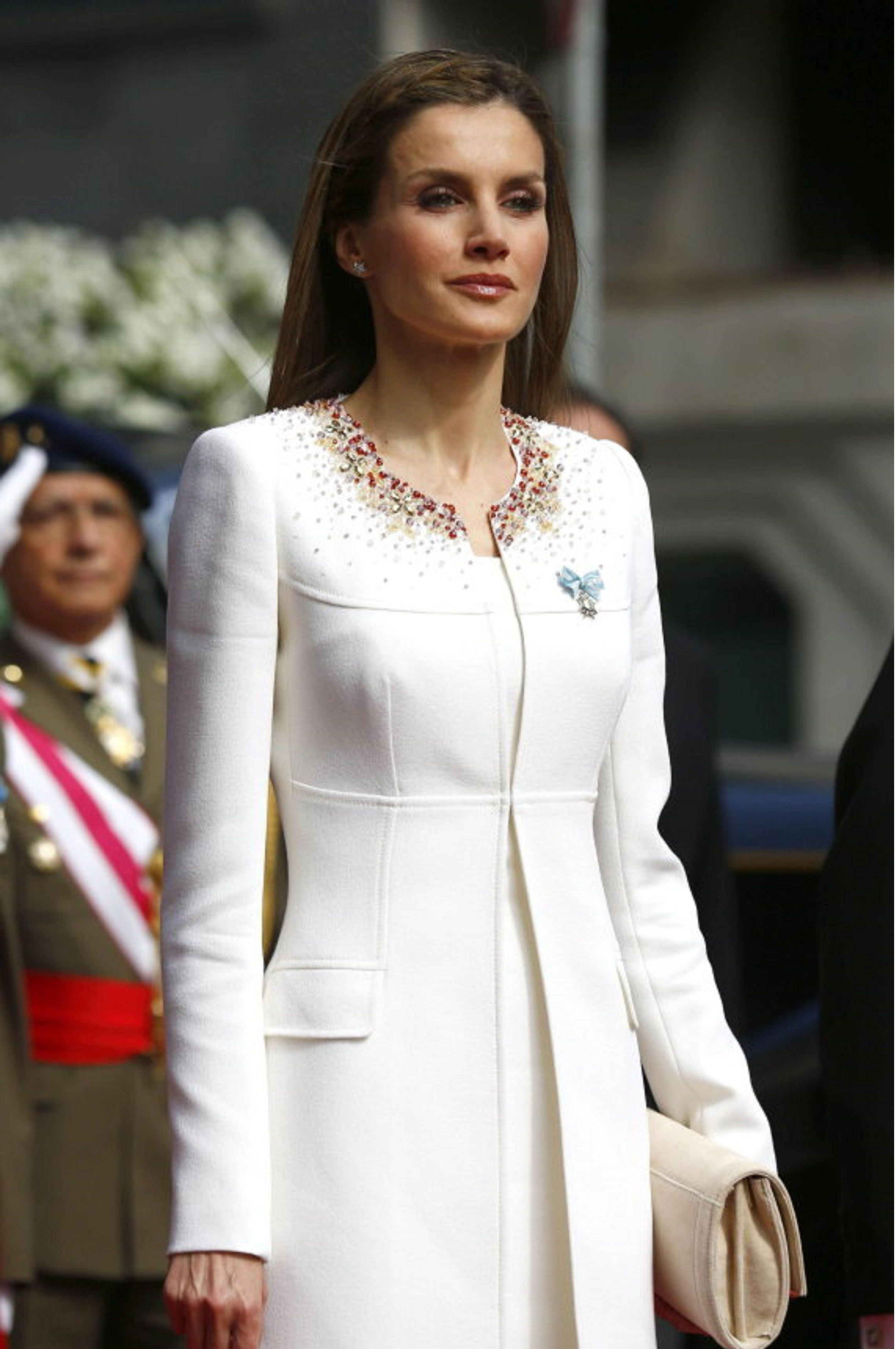 The current Queen of Spain, today in the proclamation of King Felipe VI of Spain. White dress by Spanish designer Felipe Varela