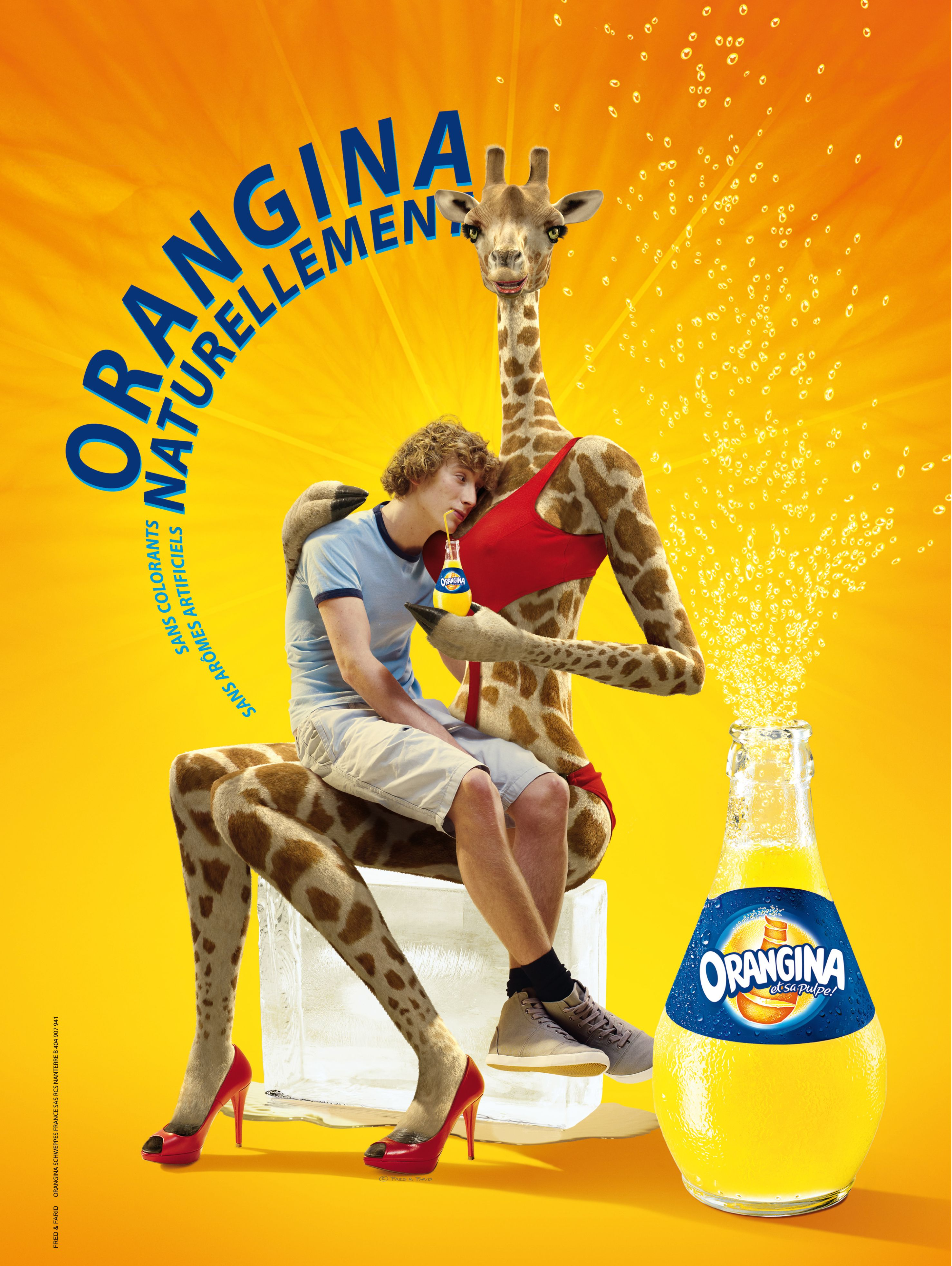 French Advert Sign Orangina Orange Drink