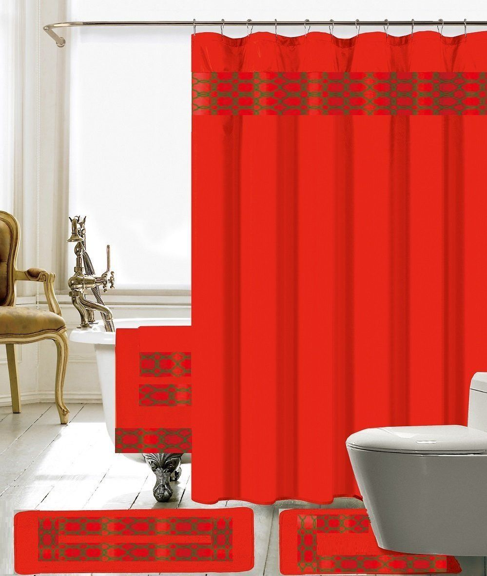 pc bathroom accessory collection setshower curtain with hooks