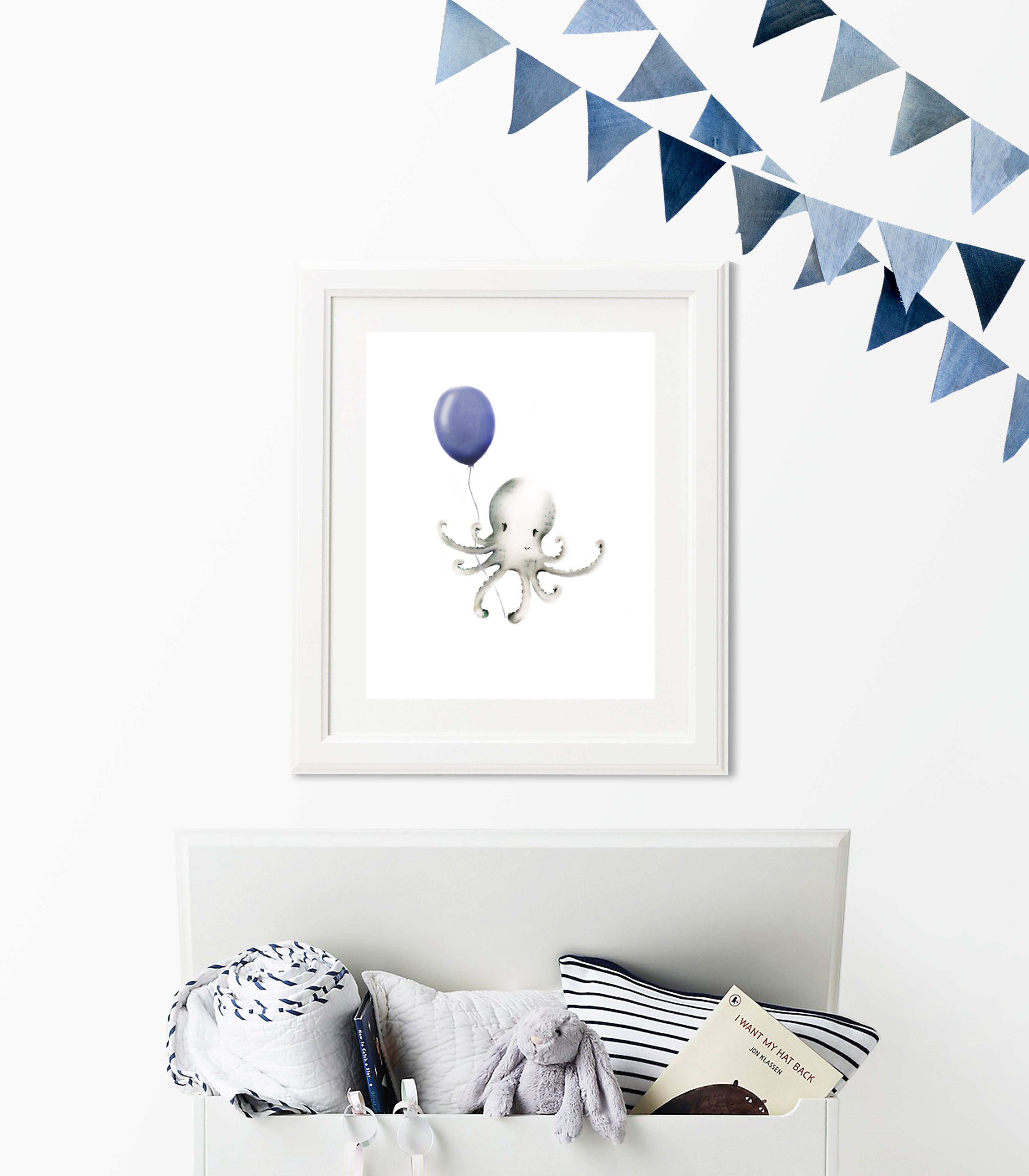 Have a nautical themed nursery? How about this baby octopus with navy  balloon print.