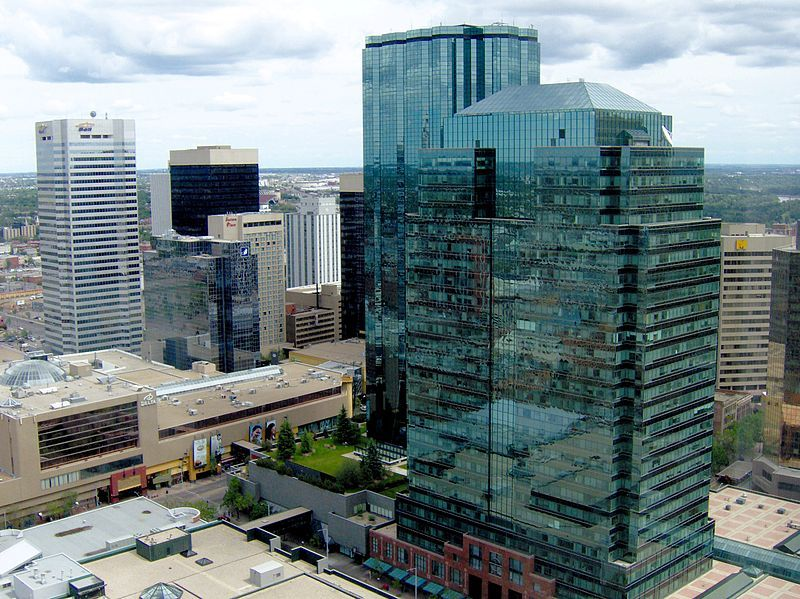 The office towers of Edmonton's Central Business District on a summer day.