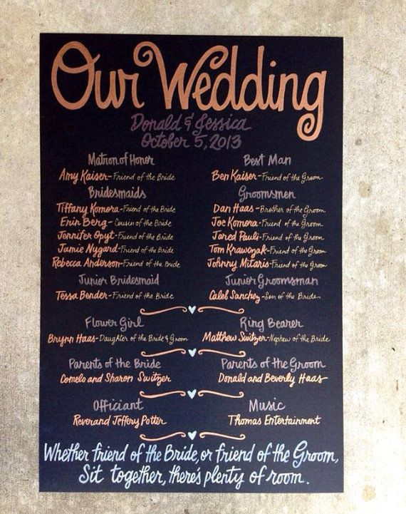 like the idea of a pretty sign with all the wedding information and