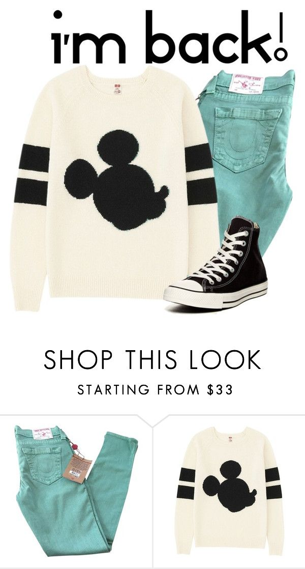 """I'm Back! :D {and other info} xx."" by disneychic7 ❤ liked on Polyvore featuring True Religion, Uniqlo and Converse"