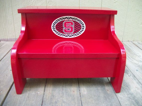Best Kids Painted Wooden Step Stool Red Nc State By Clemswshop 400 x 300