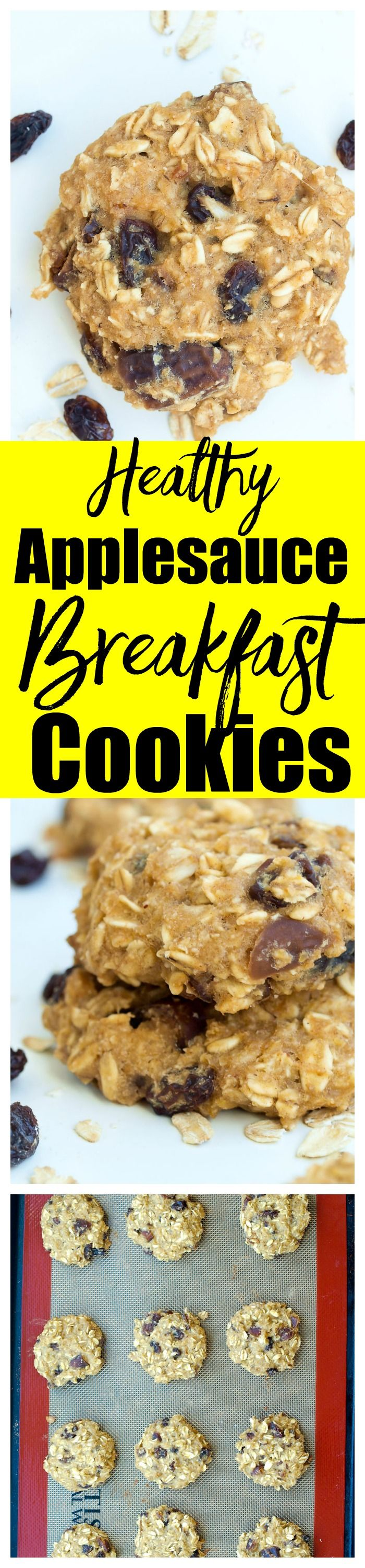 These Healthy Applesauce Breakfast Cookies Are A Simple One Bowl Recipe And Are Gluten Free And Vega Breakfast Cookies Healthy Breakfast Cookies Vegan Cookies
