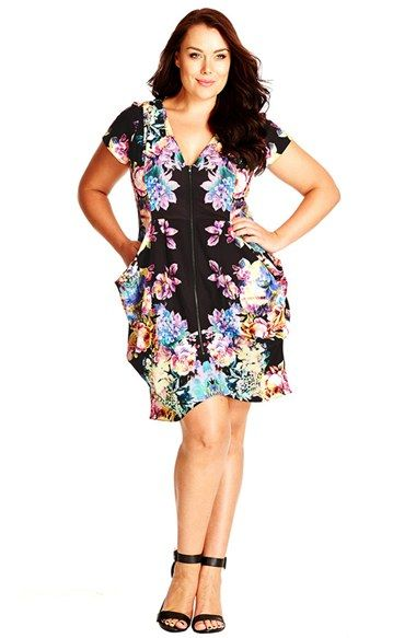fae0c4463bf City Chic Floral Print Pleat Zip Front Tunic (Plus Size) | Summer ...