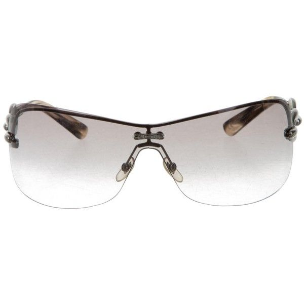 bf2139d0e73 Pre-owned Gucci Chain-Link Shield Sunglasses (125 AUD) ❤ liked on Polyvore  featuring accessories