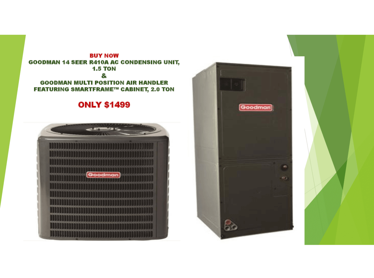 Goodman 3 Ton 14 Seer 33600 Btu R410a Variable Speed Split System Central Air Conditioning System Central Air Conditioning System Central Air Conditioning Air Conditioning System